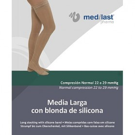 MEDIA LARGA BEIGE COMPRESION NORMAL CON BLONDA MEDILAST EXTRAGRANDE