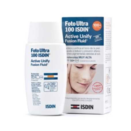 FOTOPROTECTOR ISDIN 100 FOTO ULTRA ACTIVE UNIFY FUSION FLUID SPF 50+ 50 ML