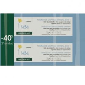 KLORANE BEBE ERYTEAL POMADA PAÑAL 3 EN 1 HIDRATANTE Y REPARADORA PACK 2X75 ML