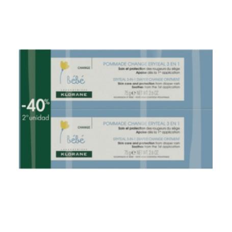 KLORANE BEBE ERYTEAL POMADA PAÑAL 3 EN 1 PACK 2X75 ML