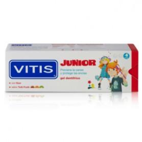 VITIS JUNIOR GEL DENTIFRICO CON FLUOR Y XILITOL SABOR A FRESA 75 ML