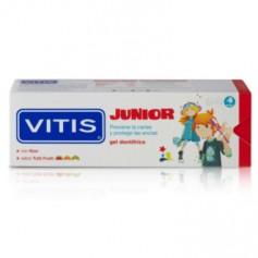 VITIS JUNIOR GEL DENTIFRICO INFANTIL CON FLUOR Y XILITOL SABOR A FRESA 75 ML