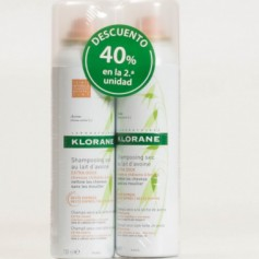 KLORANE CHAMPU SECO AVENA EXTRA SUAVE NATURAL CON COLOR 2X150 ML