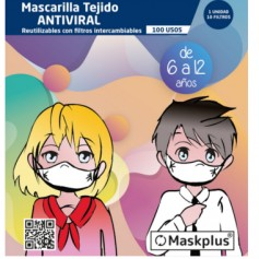 MASKPLUS BLANCA MASCARILLA 6 -12 AÑOS ANTIVIRAL 100 USOS