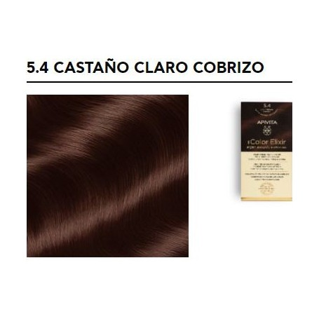 APIVITA TINTE PERMANENTE NATURAL 5.4 CASTAÑO CLARO COBRIZO LIGHT BROWN BEIGE