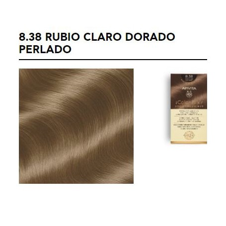APIVITA COLOR ELIXIR TINTE PERMANENTE NATURAL 8.38 RUBIO CLARO DORADO PERLADO LIGHT BLONDE GOLD PEARL